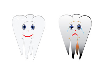 Cartoon smiles funny and sad tooth, Vector.