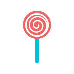 lollipop candy pink white color isolated vector