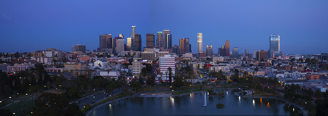 Downtown Los Angeles skyline at dusk