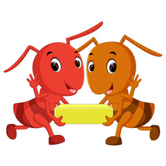 Cartoon ants holding cheese slice