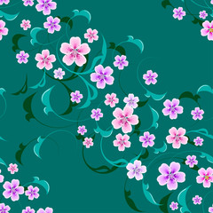 Floral seamless pattern with gentle spring pink, beige flowers on green background
