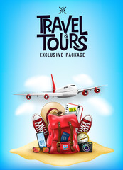 Travel and Tours Poster with 3D Realistic Travel Items Like Airplane, Backpack, Sneakers, Mobile Phone, Passport and Sunglasses in the Sand  Blue Background Poster Design. Vector Illustration