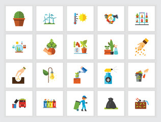 Environmental care concept. Flat icon set. Green energy, recycling, gardening. Can be used for topics like ecology, environment, volunteering