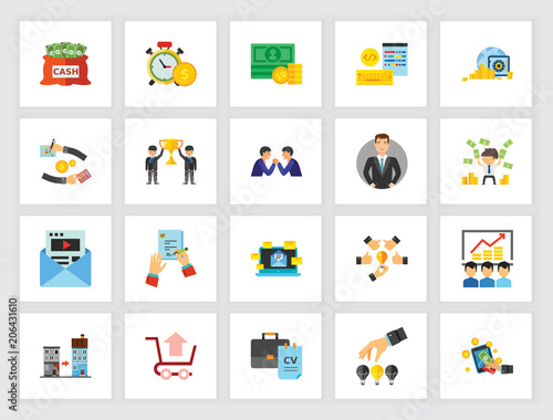 cooperation and staff concept flat icon set team teambuilding human resources