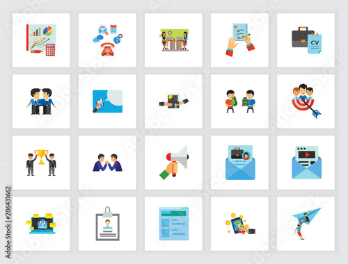 headhunting concept flat icon set hr management partnership personnel can be