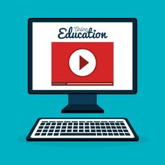 on line education with desktop computer vector illustration design