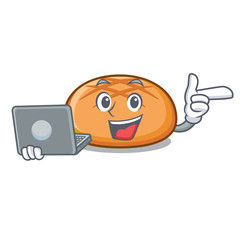With laptop hamburger bun character cartoon