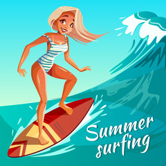 Summer surfing vector illustration of girl or young woman surfer at board on ocean wave. Cartoon poster for summer sport activity and sea leisure hobby