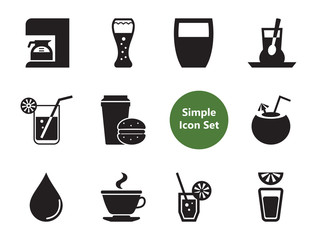 Drink icons set with teapot with cup, glass of beer and cocktail. Thirteen simple icons