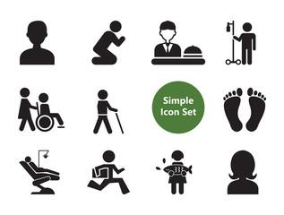 Praying icons set with information desk, praying man and blind. Thirteen vector icons
