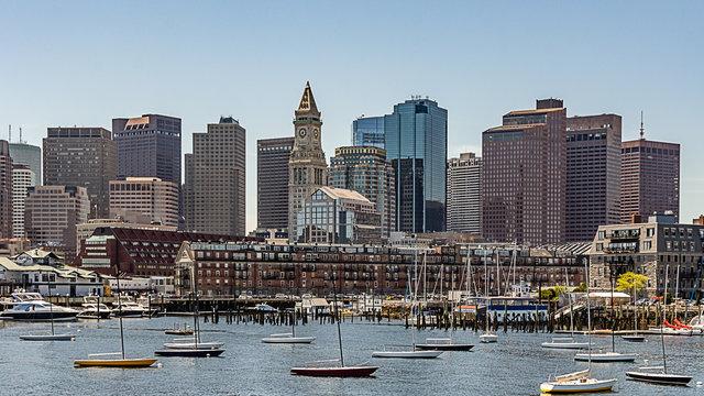 City Skyline From Harbor, Boston Massachusetts