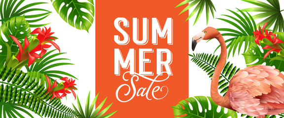 Summer sale orange banner design with palm leaves, red tropical flowers and pink flamingo. Text can be used for poster, labels, brochures.