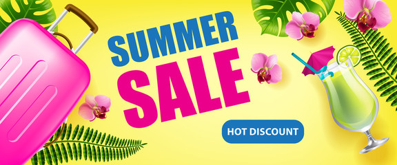 Summer sale, hot discount banner design with tropical leaves, flowers, cold drink and travel case on yellow background. Typed text can be used for flyers, labels, posters.