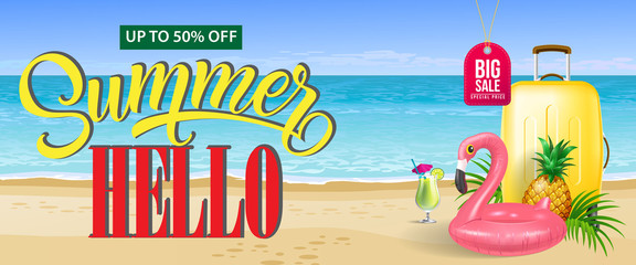 Up to fifty percent off, big sale, summer banner design. Fresh cocktail, pineapple, toy flamingo, yellow travel case and sand beach. Text can be used for coupons, voucher, posters.