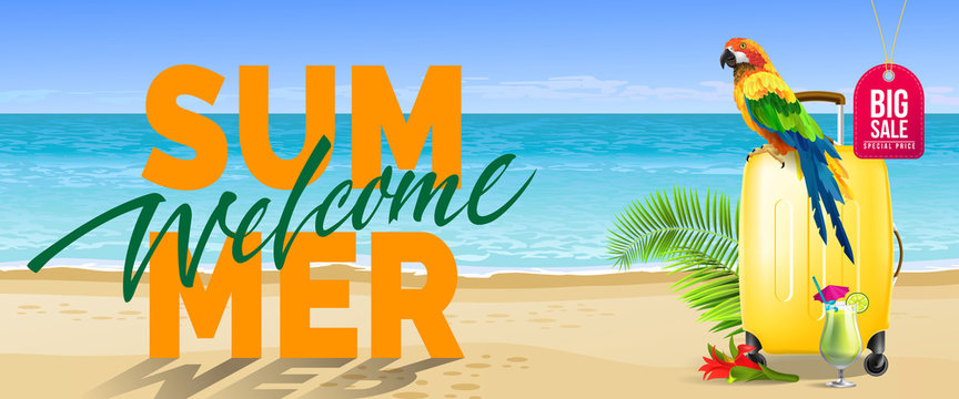 Welcome summer, big sale banner design. Cold drink, red flower, yellow travel case, parrot, ocean, beach. Text can be used for labels, flyers, posters
