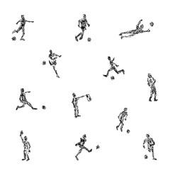 クレヨンで描いたサッカー選手達のイラスト