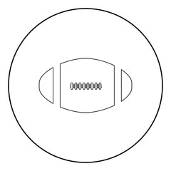 American football ball  icon black color in circle
