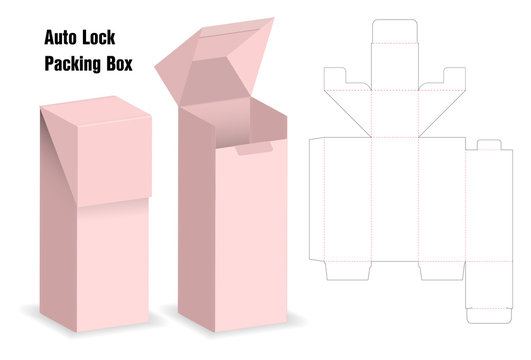 package box die cut with 3d mock up with auto lock
