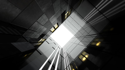Low angle view of generic modern business skyscrapers ,high rise buildings with abstract geometry glass and cement facades . Concepts of finances and economics background. 3d rendering .