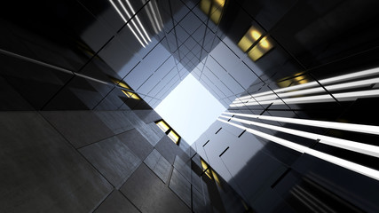 Low angle view of generic modern office skyscrapers ,high rise buildings with abstract geometry glass and cement facades . Concepts of finances and economics background. 3d rendering .