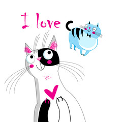 Vector illustration of a loving cat