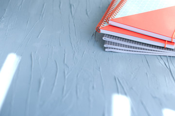School office supplies. blue background. Copy space