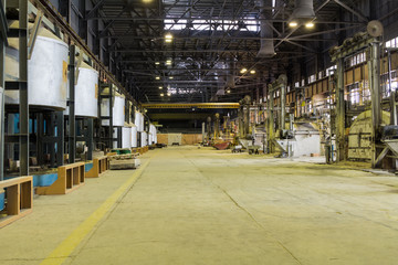 Interior optical glass factory, workshop with blast furnaces