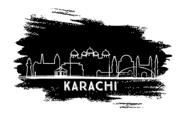 Karachi Pakistan City Skyline Silhouette. Hand Drawn Sketch.