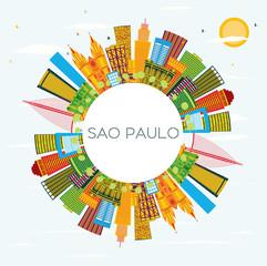 Sao Paulo Brazil City Skyline with Color Buildings, Blue Sky and Copy Space.