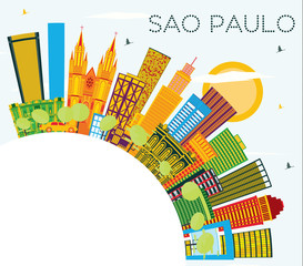 Sao Paulo Brazil City Skyline with Color Buildings, Blue Sky and Copy Space.