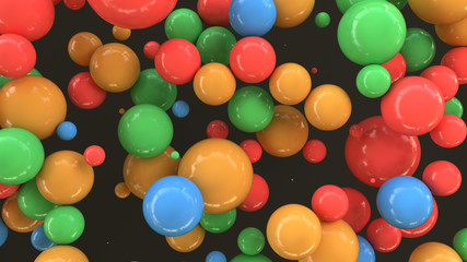 Colorful spheres of random size on black background