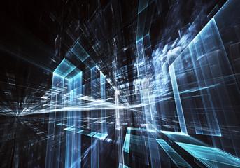 Fractal art - computer 3D image, technological background