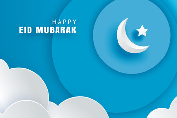 Happy Eid Mubarak greeting card with with crescent moon paper art background. Ramadan Kareem vector illustration. Use for banner, poster, flyer, brochure sale template.
