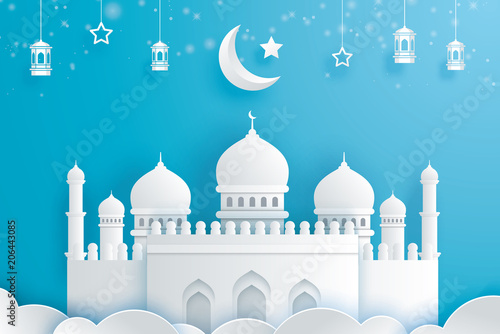 happy eid mubarak greeting card with with crescent moon paper art