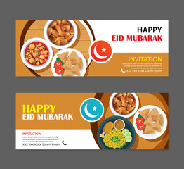 Eid Mubarak party invitations greeting card and banner with food background. Ramadan Kareem vector illustration. Use for cover, poster, flyer, brochure, label, sale template.
