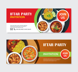 Iftar party invitations greeting card and banner with food background. Eid Mubarak vector illustration. Use for cover, poster, flyer, brochure, label, voucher, sale template.