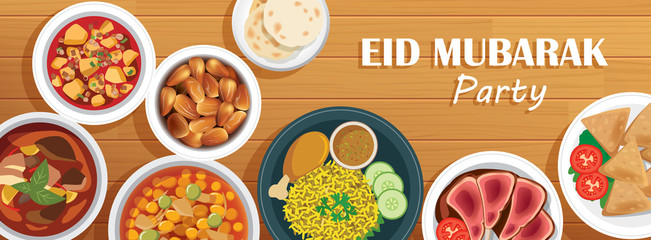 Eid Mubarak party cover and banner with food on wooden background. Ramadan Kareem vector illustration. Use for greeting card, invitations, poster, flyer, brochure sale template.