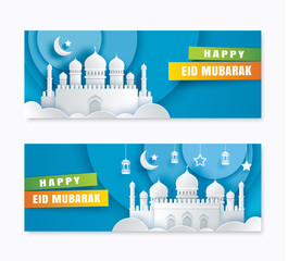 Happy Eid Mubarak greeting card with mosque and crescent moon paper art background. Ramadan Kareem vector illustration. Use for banner, poster, flyer, brochure sale template.