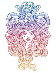 Pretty girl with beautiful long hair in art nouveau style.