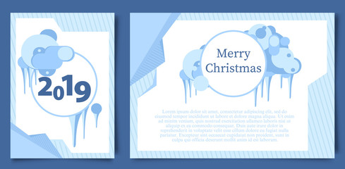Happy Christmas card Vertical and horizontal. blue background with decorative ornaments, vector illustration
