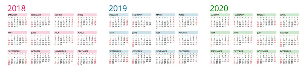 Simple Calendar template for 2018, 2019 and 2020. Week starts from Sunday. Flat style color vector illustration. Yearly calendar template. Portrait Orientation. Set of 12 Months.