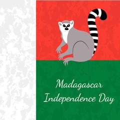 Independence Day in Madagascar. 26 June. Flag of Madagascar, lemur, grunge texture