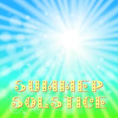 Concept Summer Solstice. Sky, blur, sun, the lights of a sun. Lettering