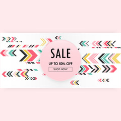 Sweet abstract geometric pink background sale banner template.