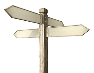 3D illustration of crossroads signpost indicating travel or indecision