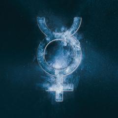 Planet Mercury Symbol. Mercury sign. Abstract night sky background.