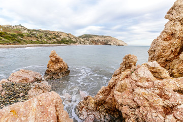 View of a rocky coast in the morning