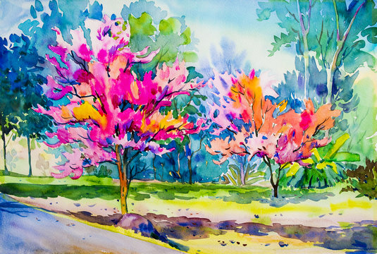Abstract painting watercolor original  of Wild Himalayan Cherry flower