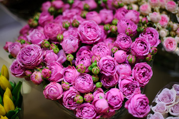 Bright and beautiful bouquet of flowers consisting of purple peony roses in flower shop