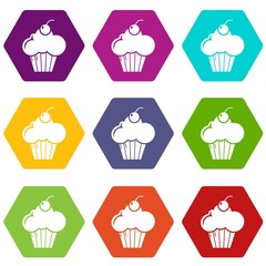 Sweet cupcake icons 9 set coloful isolated on white for web